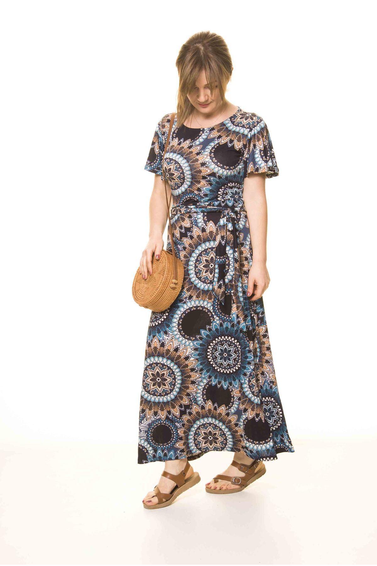 Kadın Etnik Desenli Esnek Elbise 17D-3073