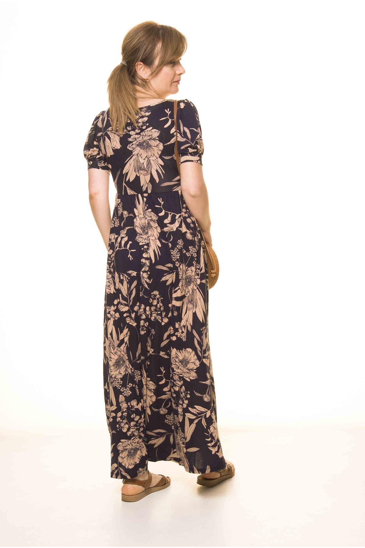 Kadın Lacivert Öpücük Yaka Karpuz Kol Uzun Elbise 17D-3077
