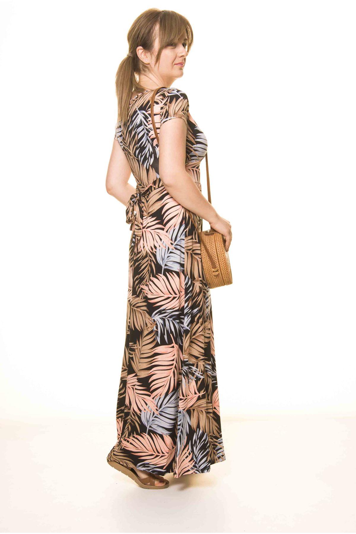 Kadın Kruvaze Yaka Desenli Uzun Elbise 17C-3071