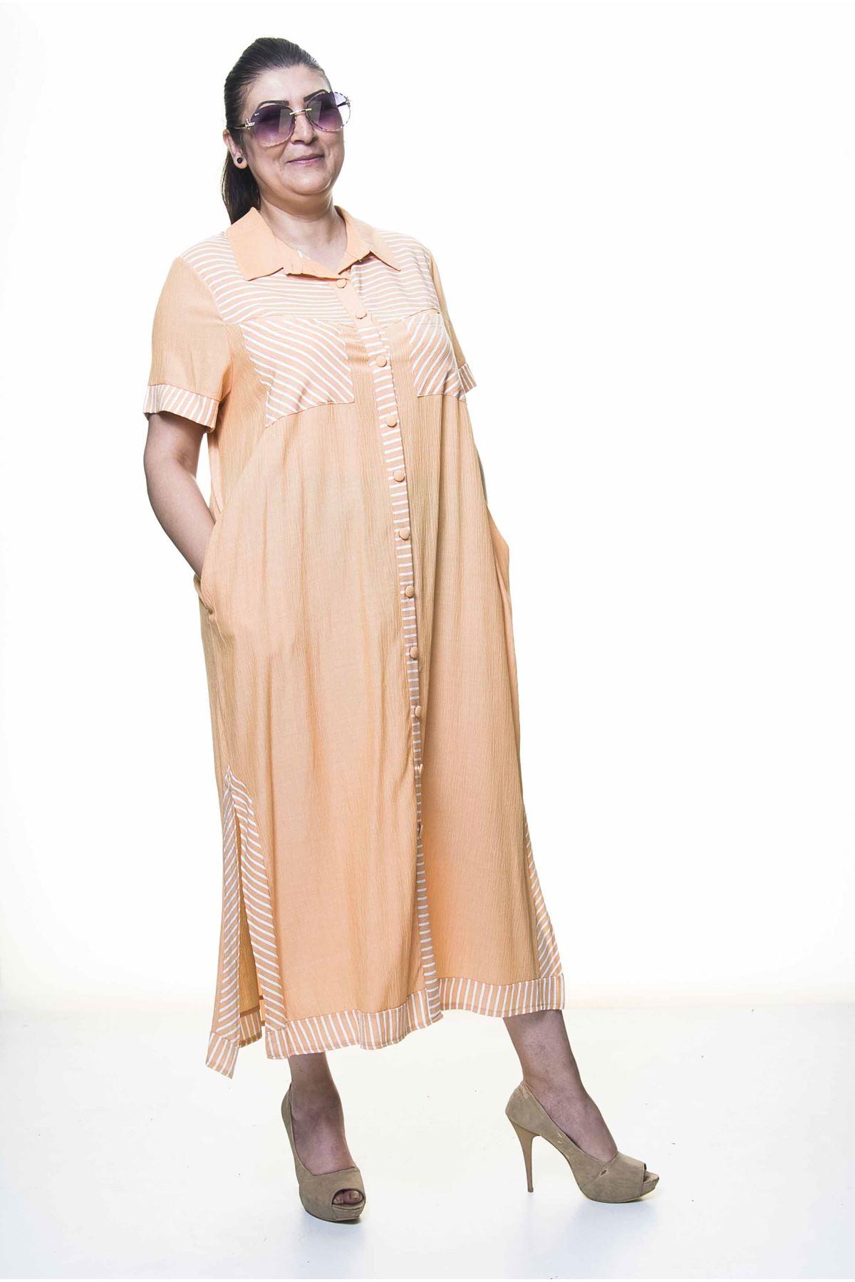 Kadın Büyük Beden Düğmeli Gömlek Yaka  Cepli Yazlık Uzun Elbise A3-4031