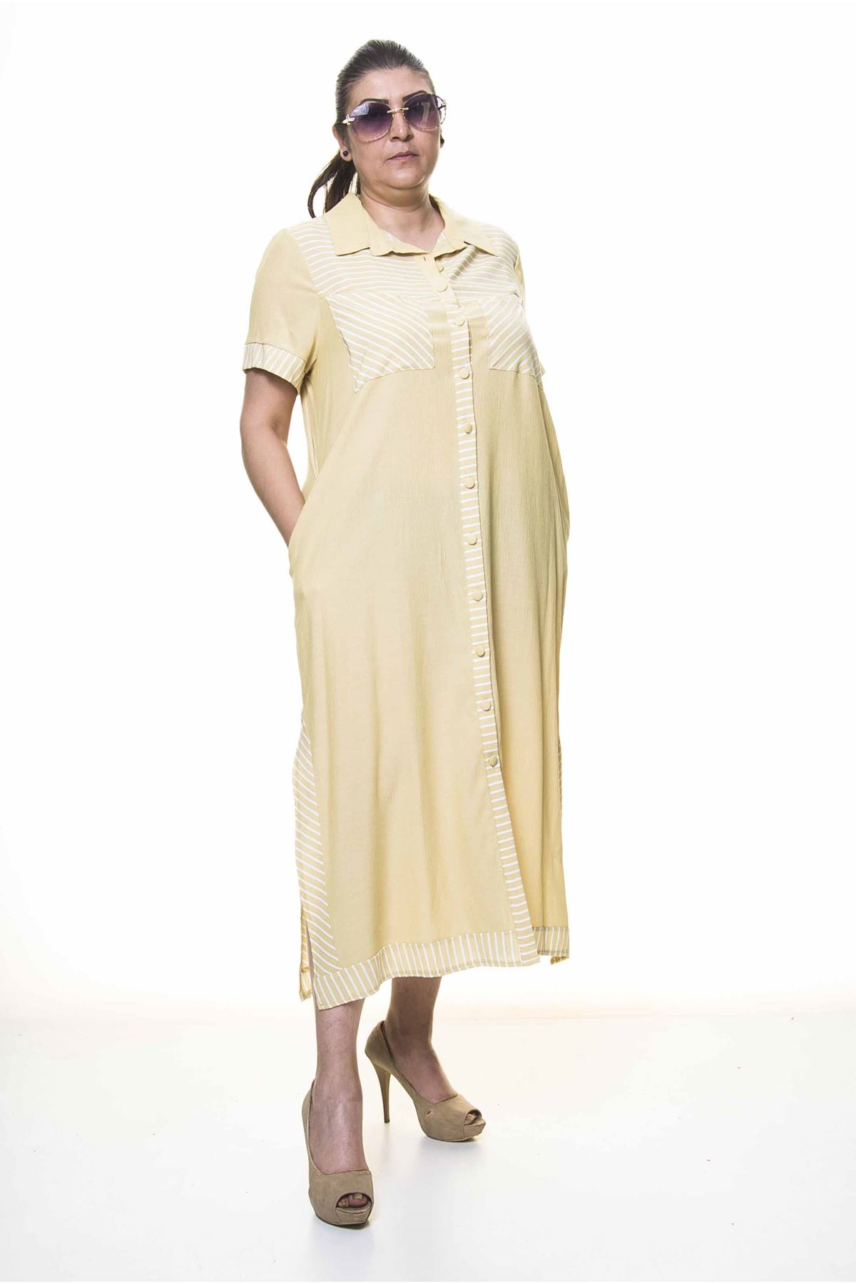 Kadın Büyük Beden Düğmeli Gömlek Yaka  Cepli Yazlık Uzun Elbise A3-4032