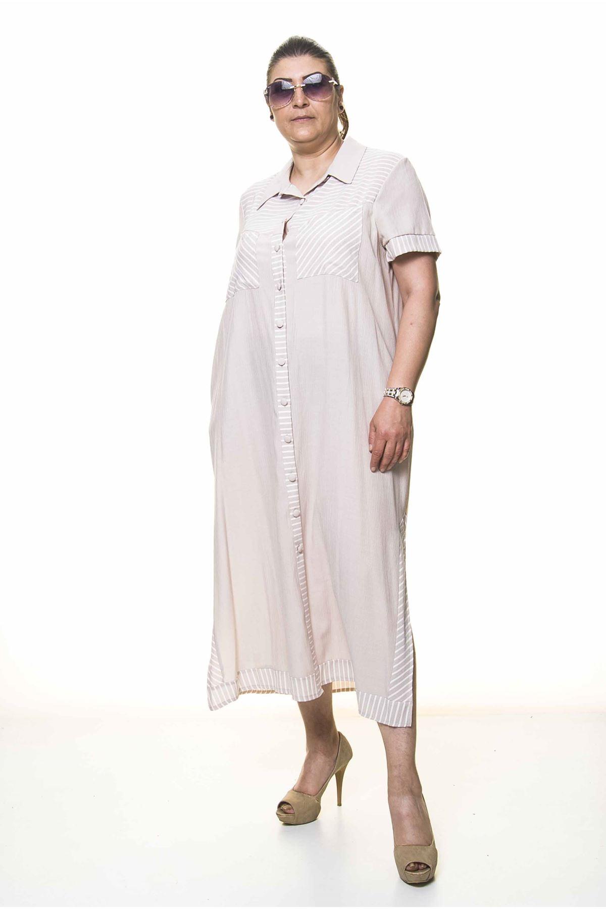 Kadın Büyük Beden Düğmeli Gömlek Yaka  Cepli Yazlık Uzun Elbise A3-4033