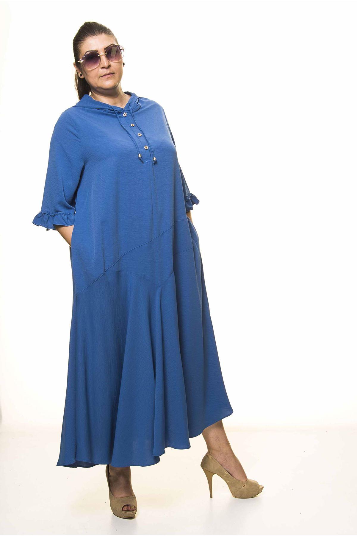 Kadın Büyük Beden Kapüşonlu Fıfrı Kol Mavi Uzun Elbise A3-4035