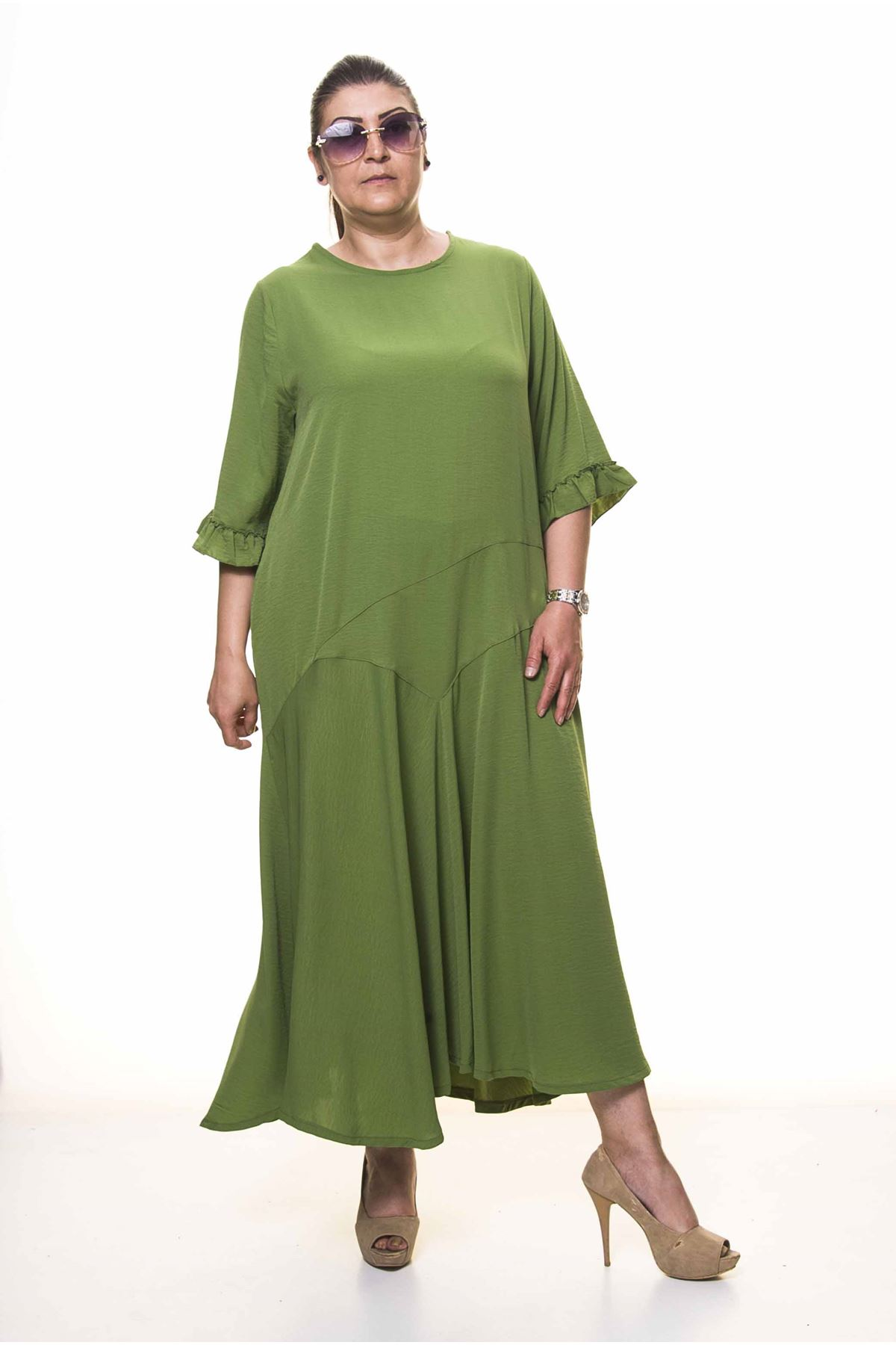 Kadın Büyük Beden Yeşil Uzun Asimetrik Fırfır Kol  Elbise A3-4036