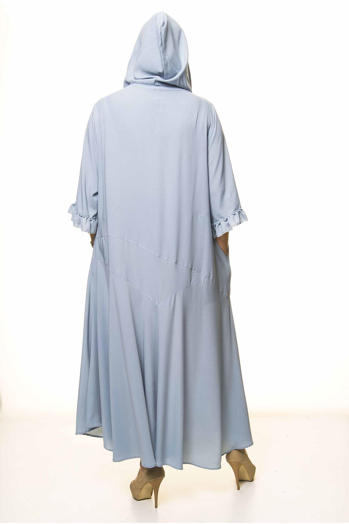 Kadın Büyük Beden Kapüşonlu Fırfır Kol Bebe Mavi Uzun Elbise A3-4037