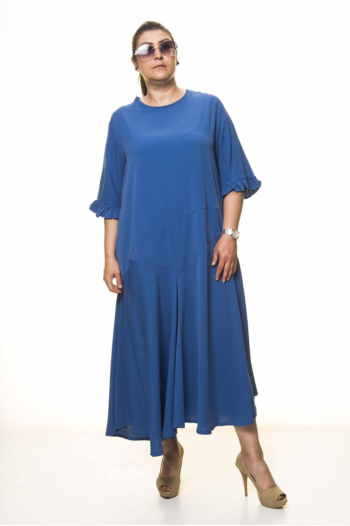 Kadın Büyük Beden Mavi Uzun Asimetrik Fırfır Kol  Elbise A3-4039