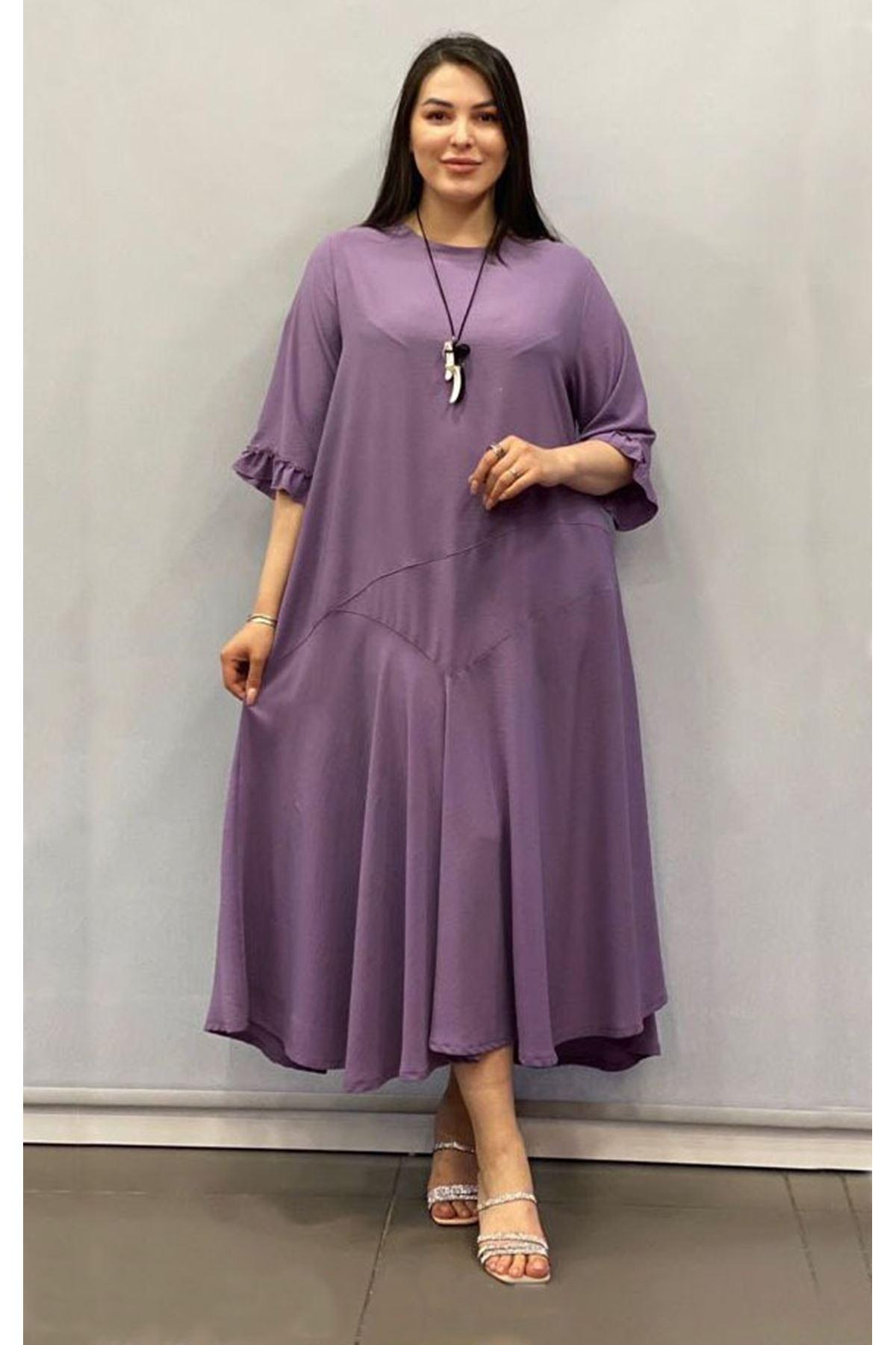Kadın Büyük Beden Lila Uzun Asimetrik Fırfır Kol  Elbise A3-4038