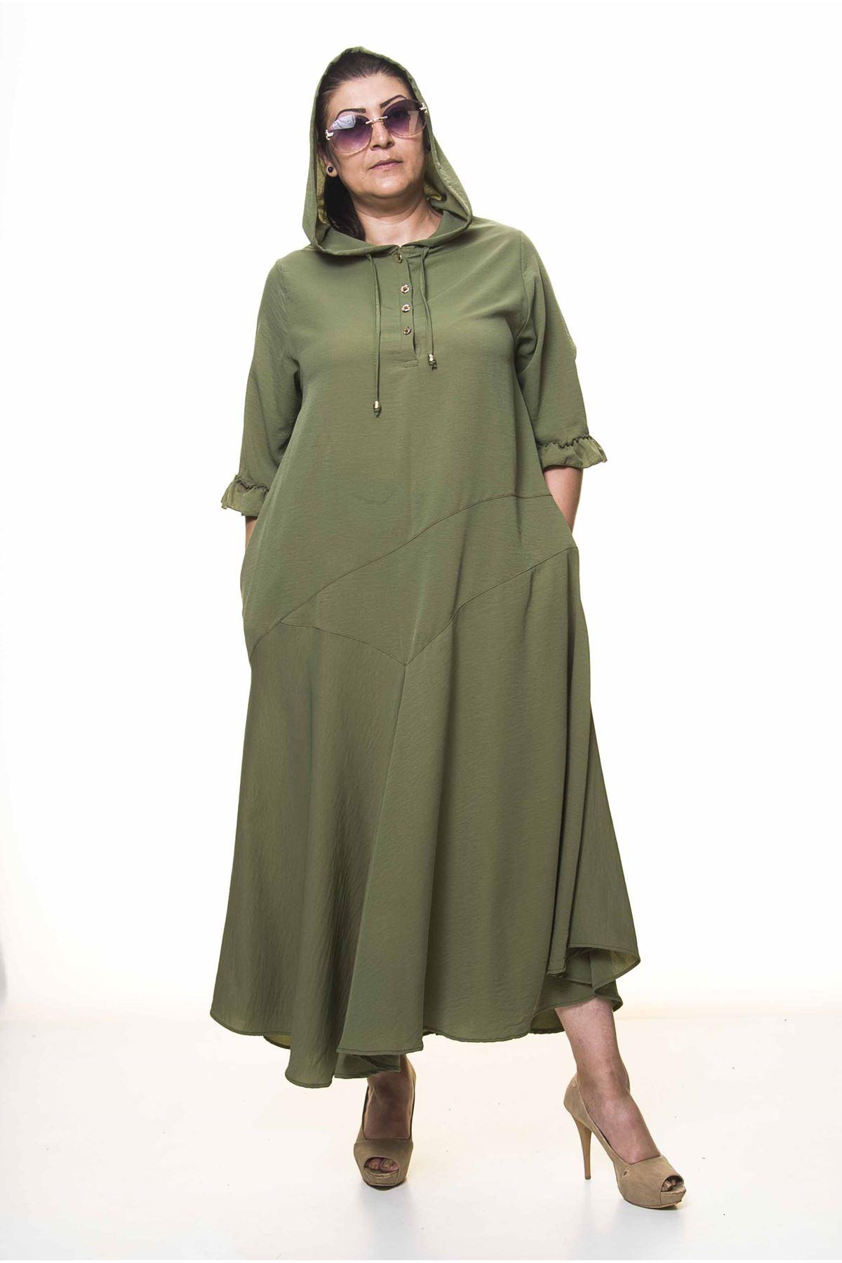 Kadın Büyük Beden Kapüşonlu Fırfır Kol Haki Uzun Yazlık Elbise A3-4040
