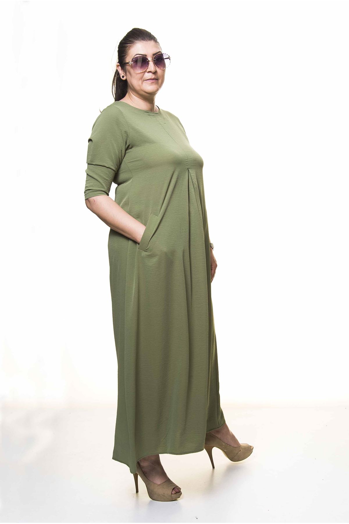 Kadın Büyük Beden Haki Yeşil Uzun Yazlık Elbise A3-4043