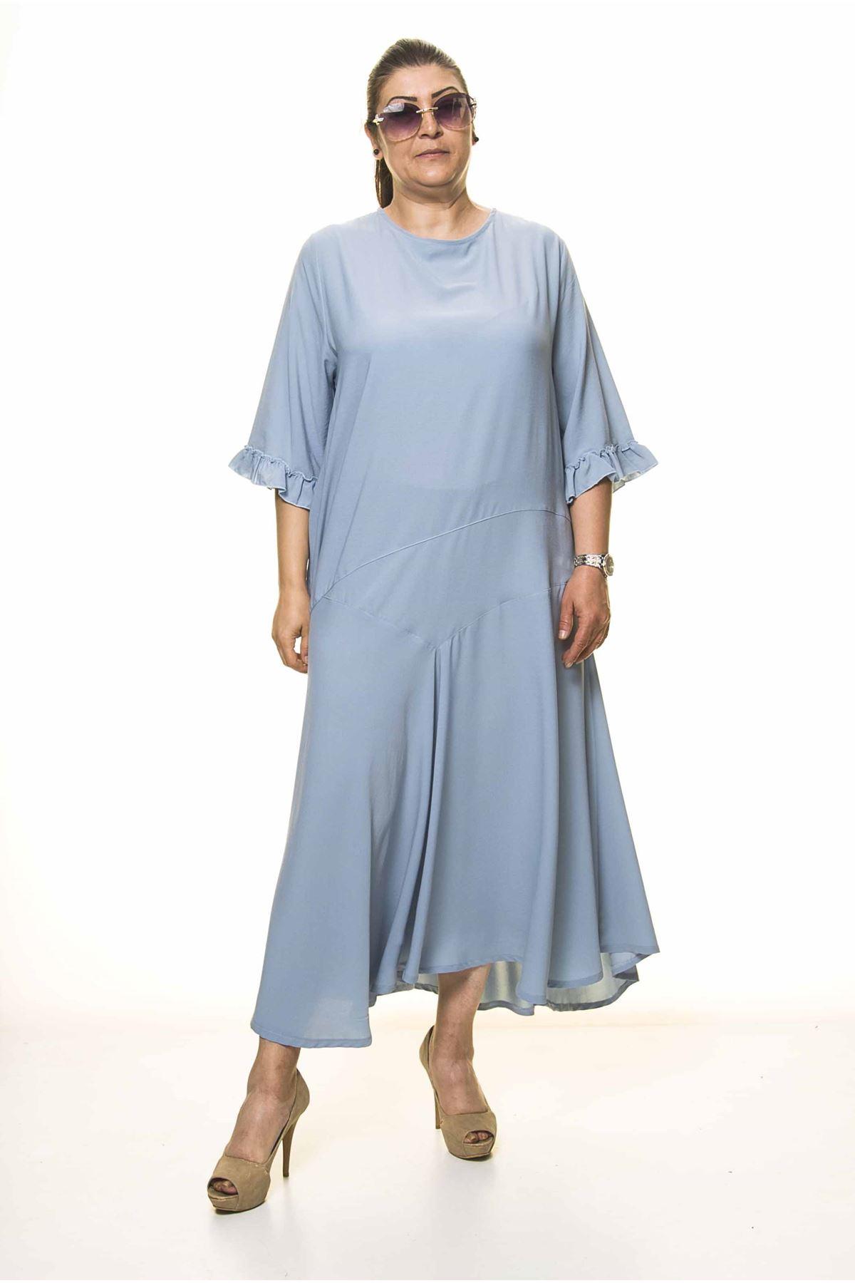 Kadın Büyük Beden Bebe Mavisi Uzun Asimetrik Fırfır Kol  Elbise A3-4044