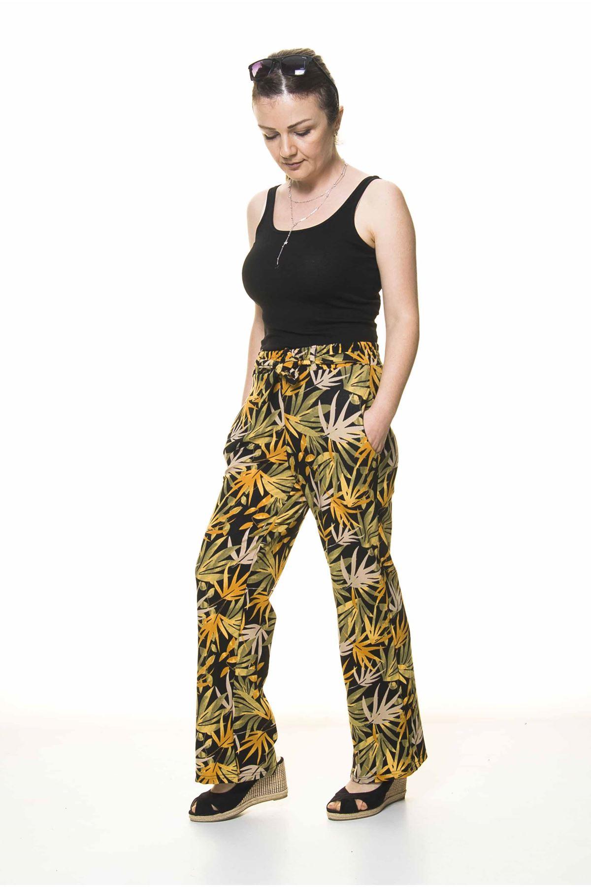 Kadın Beli Lastikli Desenli Pantolon 10F-4027