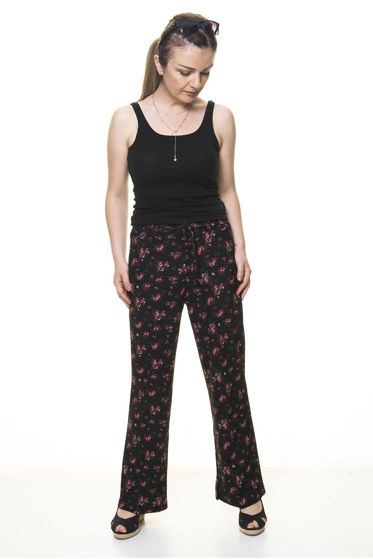 Kadın Beli Lastikli Çiçek Desenli Pantolon 10E-4025