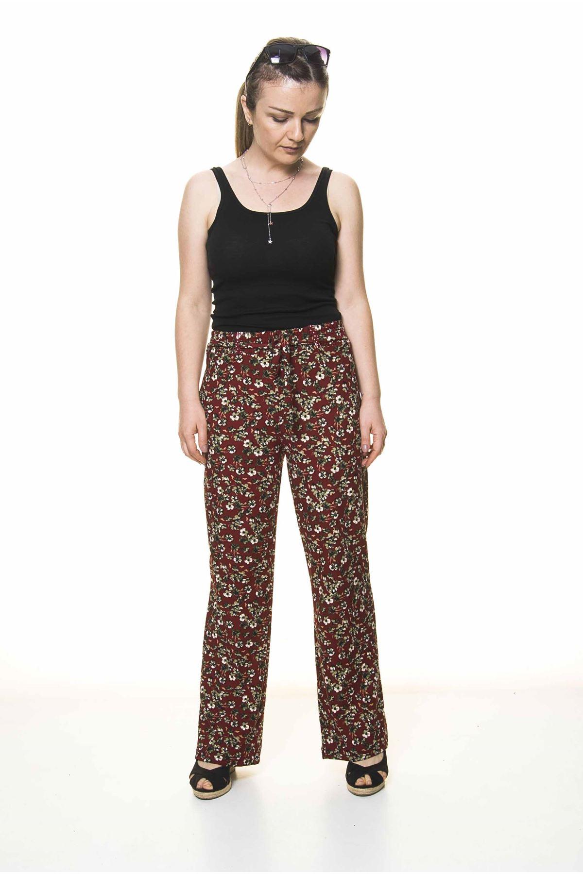 Kadın Beli Lastikli Bordo Çiçek Desenli Pantolon 10F-4028