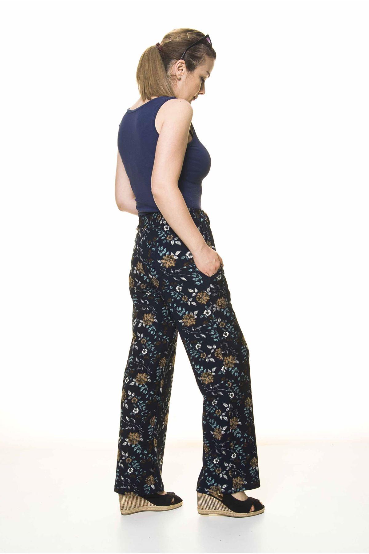 Kadın Beli Lastikli Çiçek Desenli Pantolon 10F-4026