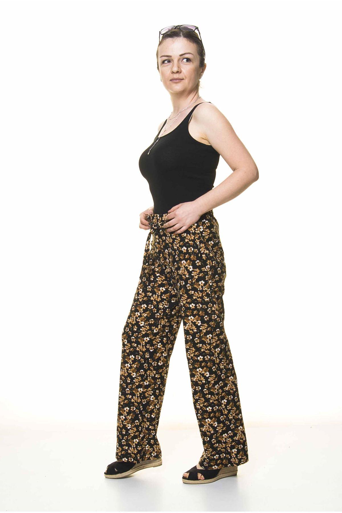 Kadın Beli Lastikli Çiçek Desenli Pantolon 10E-4024