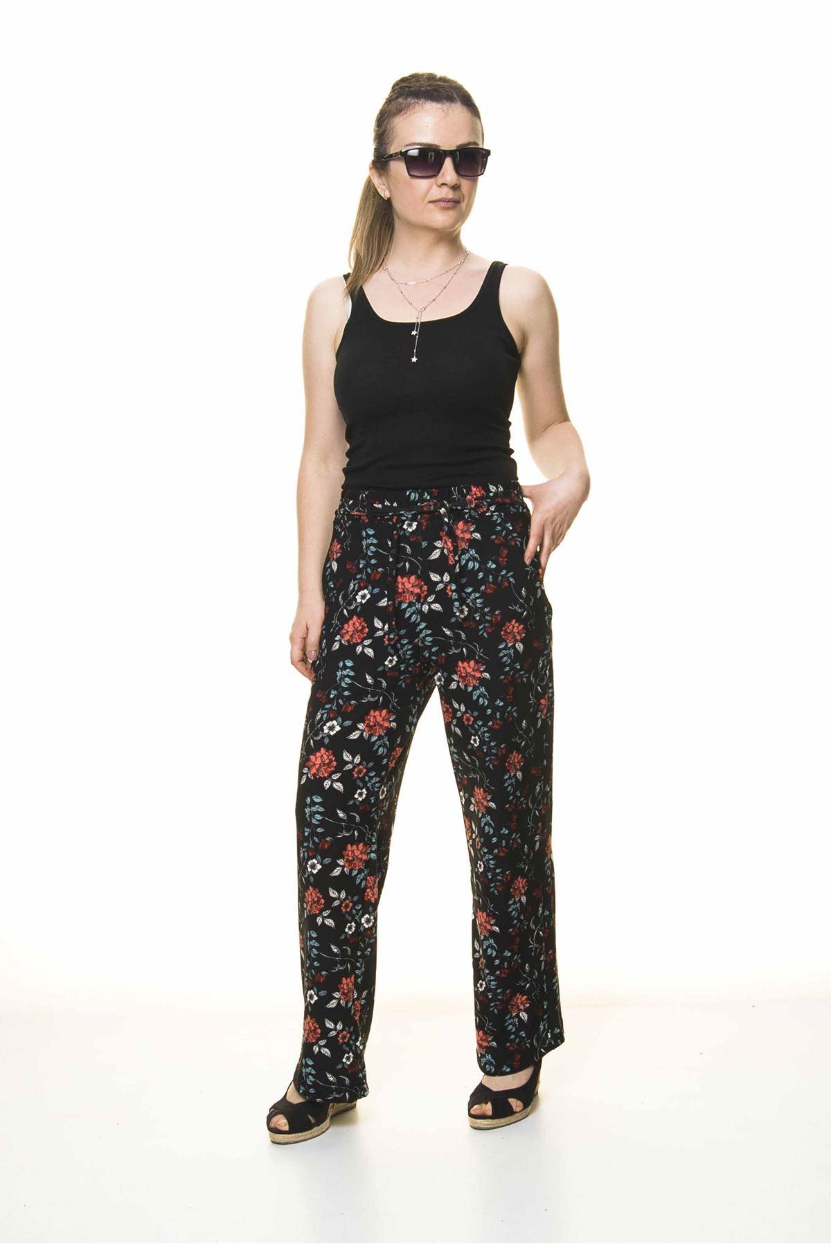 Kadın Beli Lastikli Çiçek Desenli Pantolon 10E-4022