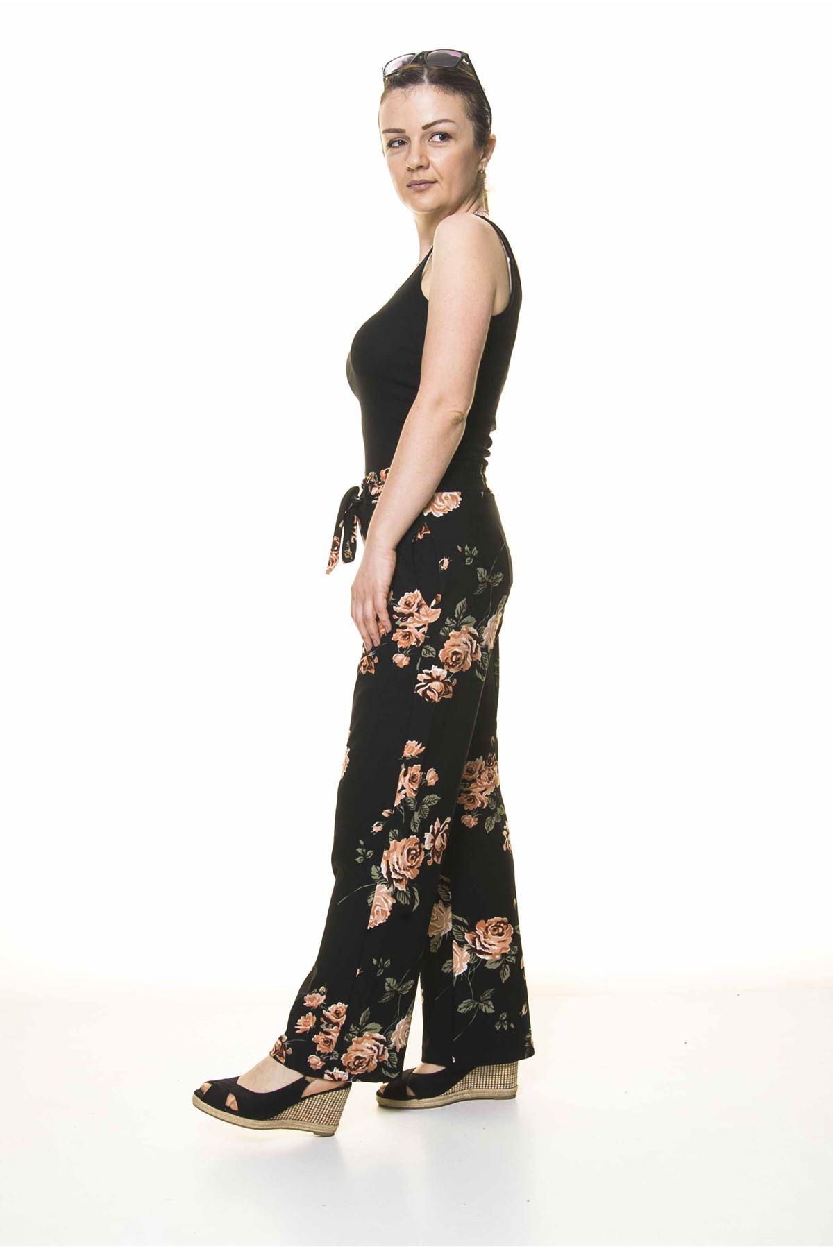 Kadın Beli Lastikli Çiçek Desenli Pantolon 10E-4020