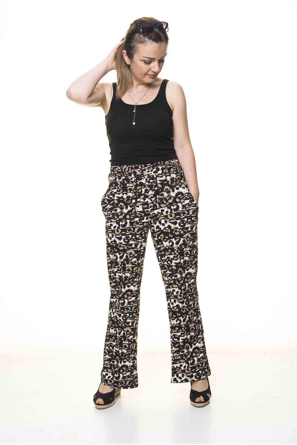 Kadın Beli Lastikli Desenli Pantolon 10E-4021