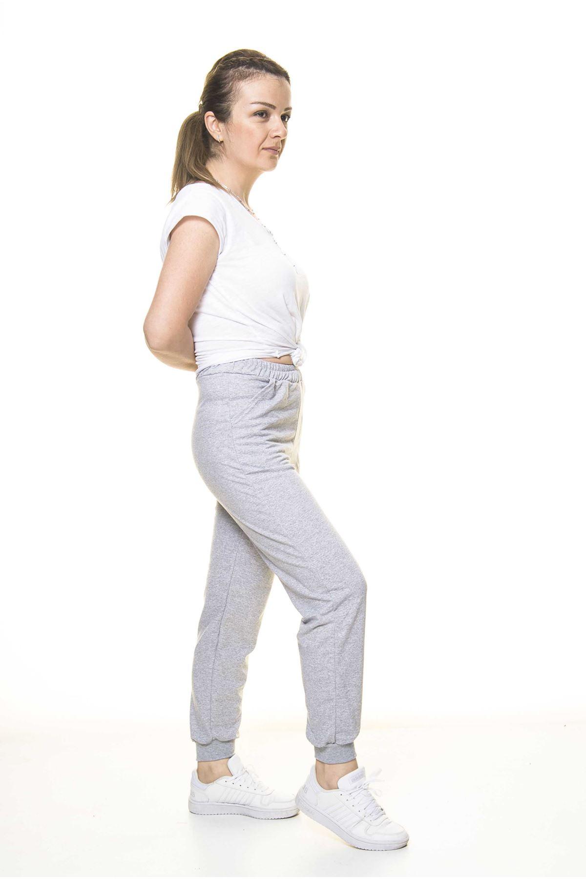 Kadın Gri Lastikli Paça  Eşofman Altı 5D-3072
