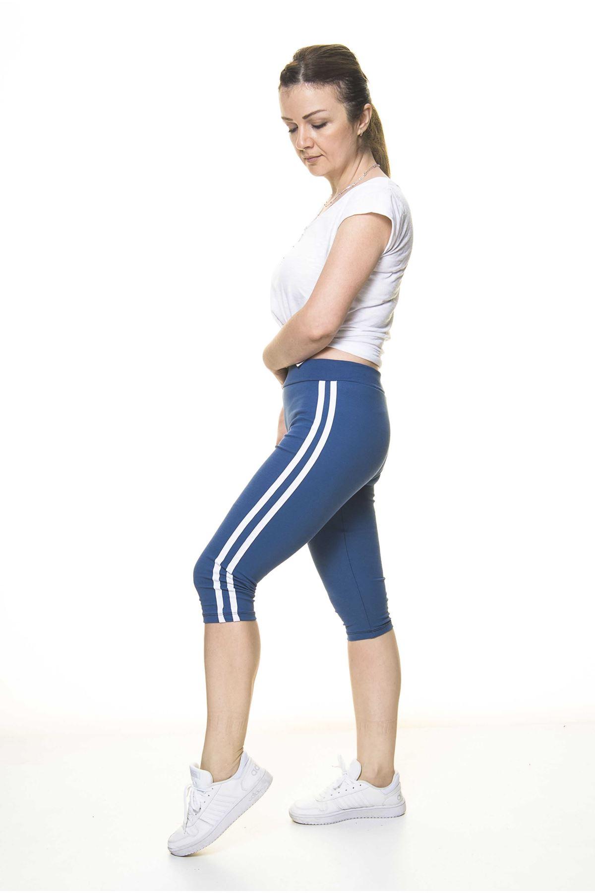 Kadın Spor Çizgili Mavi Kapri Tayt 11C-4011