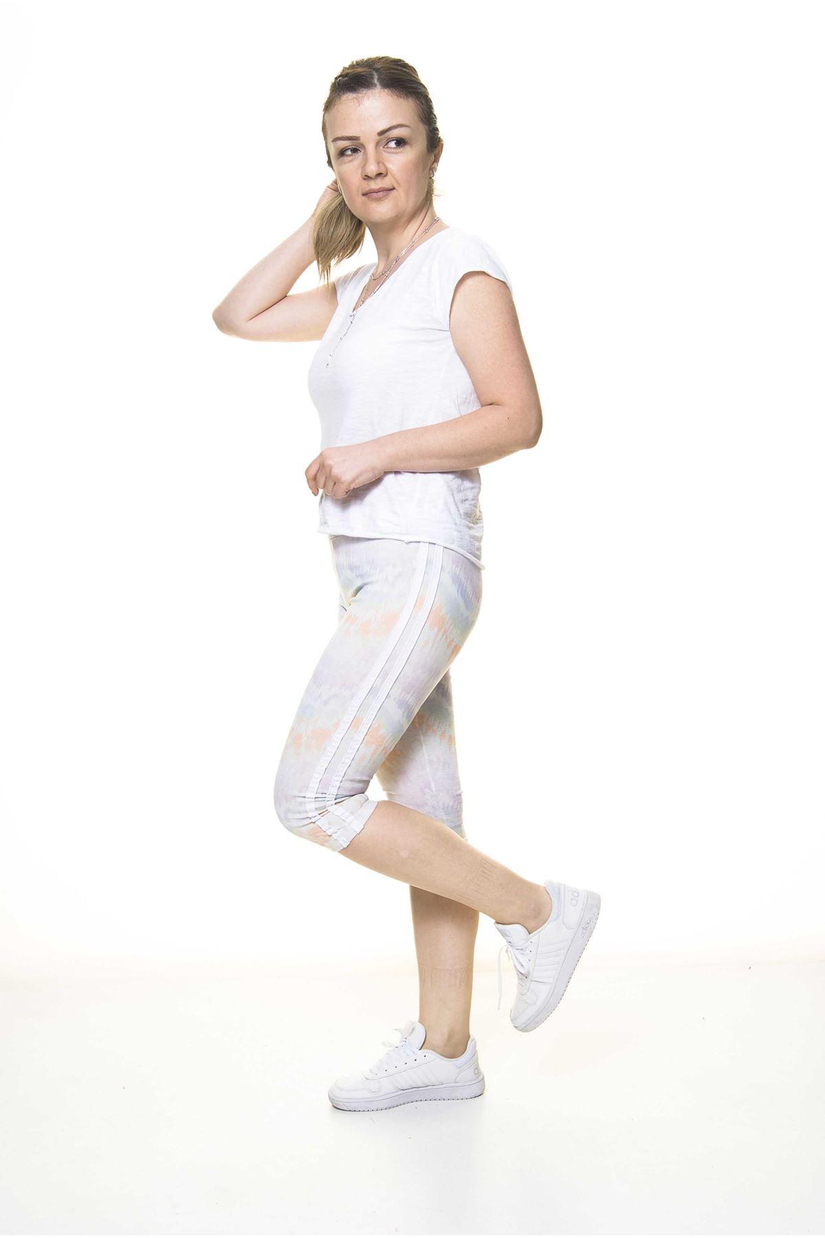 Kadın Spor Çizgili Renkli Kapri Tayt 11C-4014