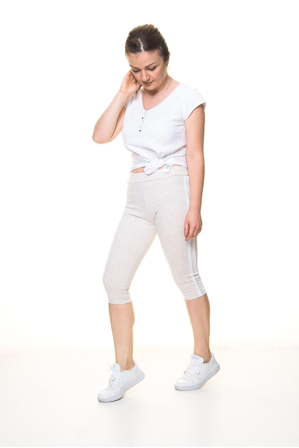 Kadın Spor Çizgili Bej Kapri Tayt 11C-4017