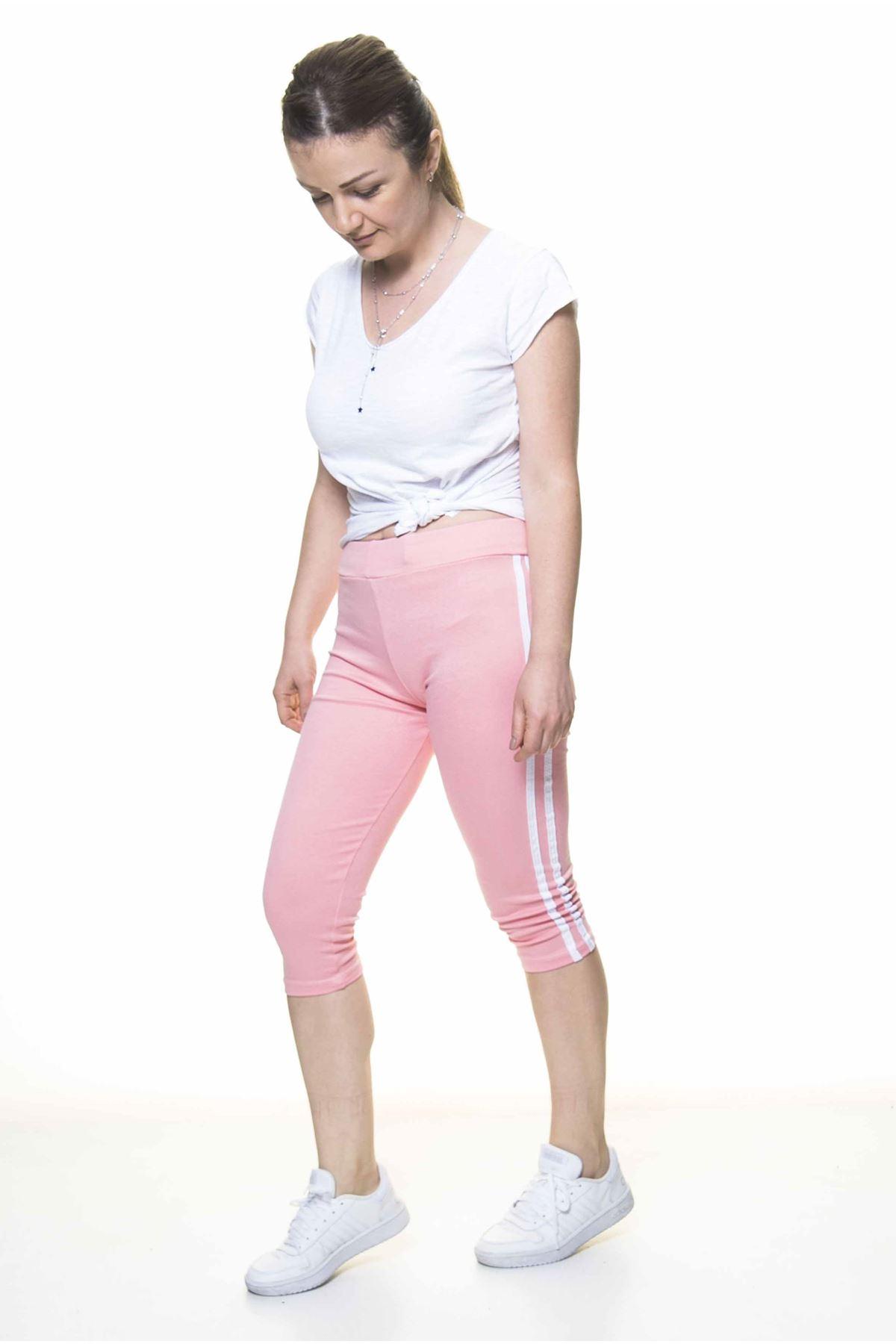 Kadın Spor Çizgili Açık Pembe Kapri Tayt 11C-4018