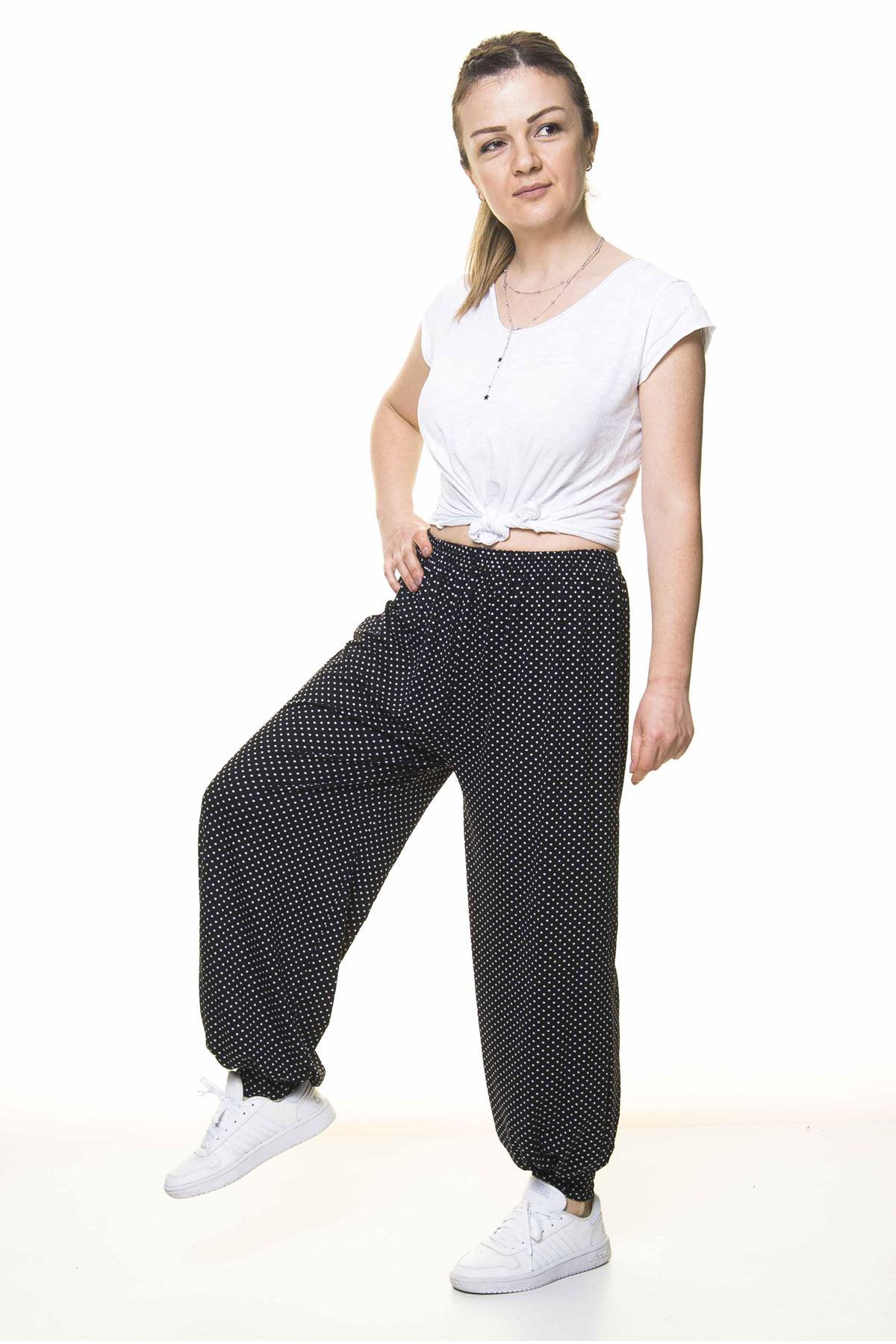 Kadın Beli Lastikli Siyah Puantiyeli Şalvar Pantolon 8C-4007