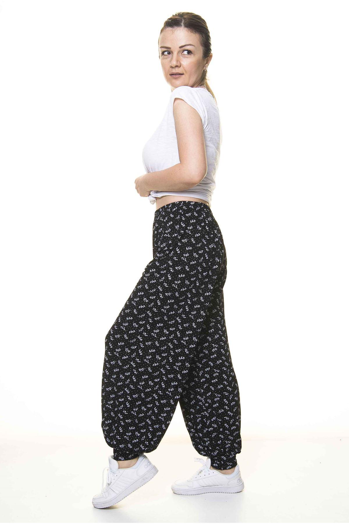 Kadın Beli Lastikli Siyah Desenli Şalvar Pantolon 8C-4009