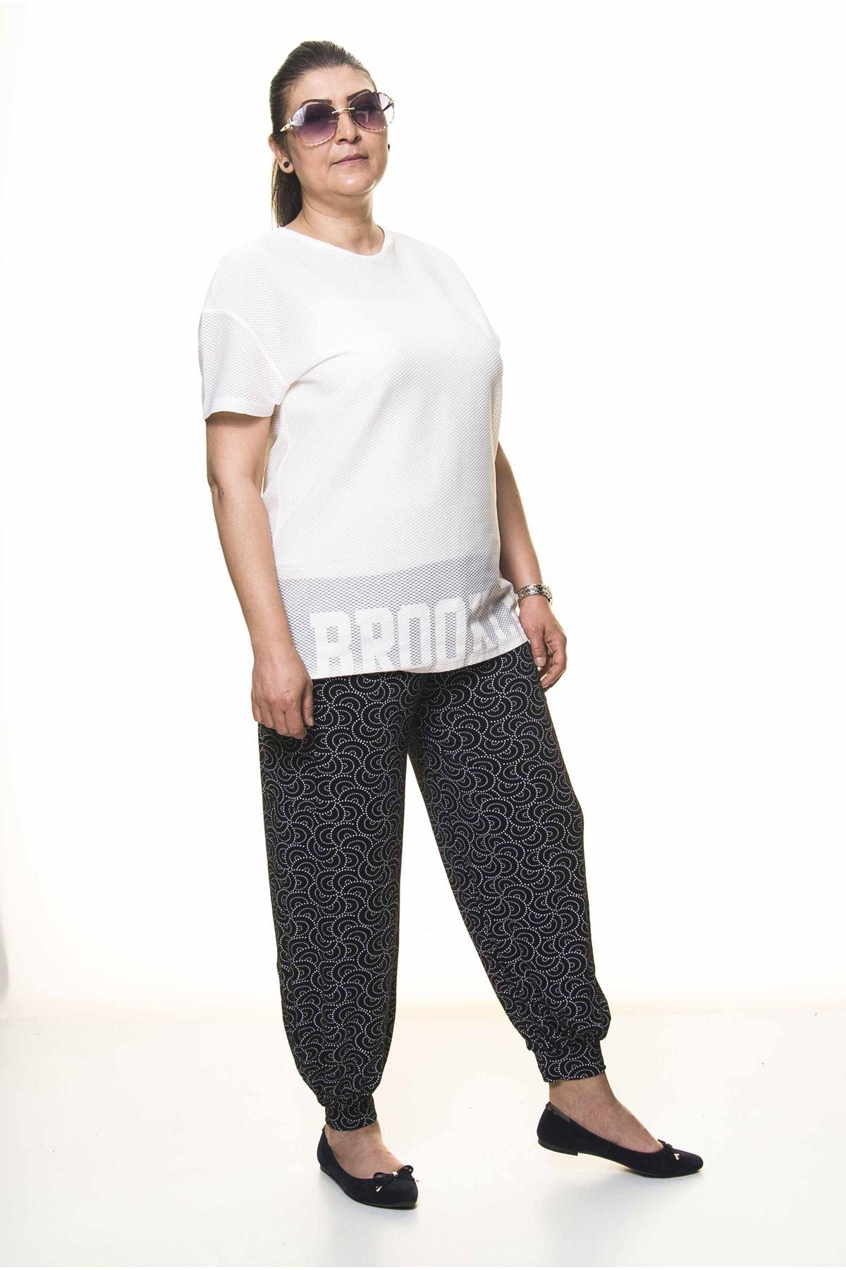 Kadın Beli Lastikli Siyah Desenli Şalvar Pantolon 8C-4006