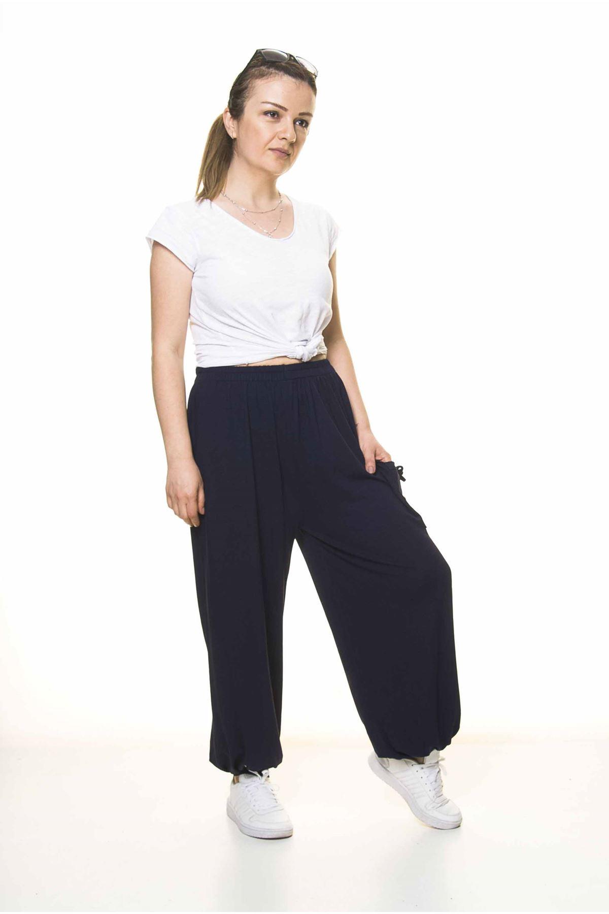 Kadın Beli Lastikli Lacivert Şalvar Pantolon 8C-4005