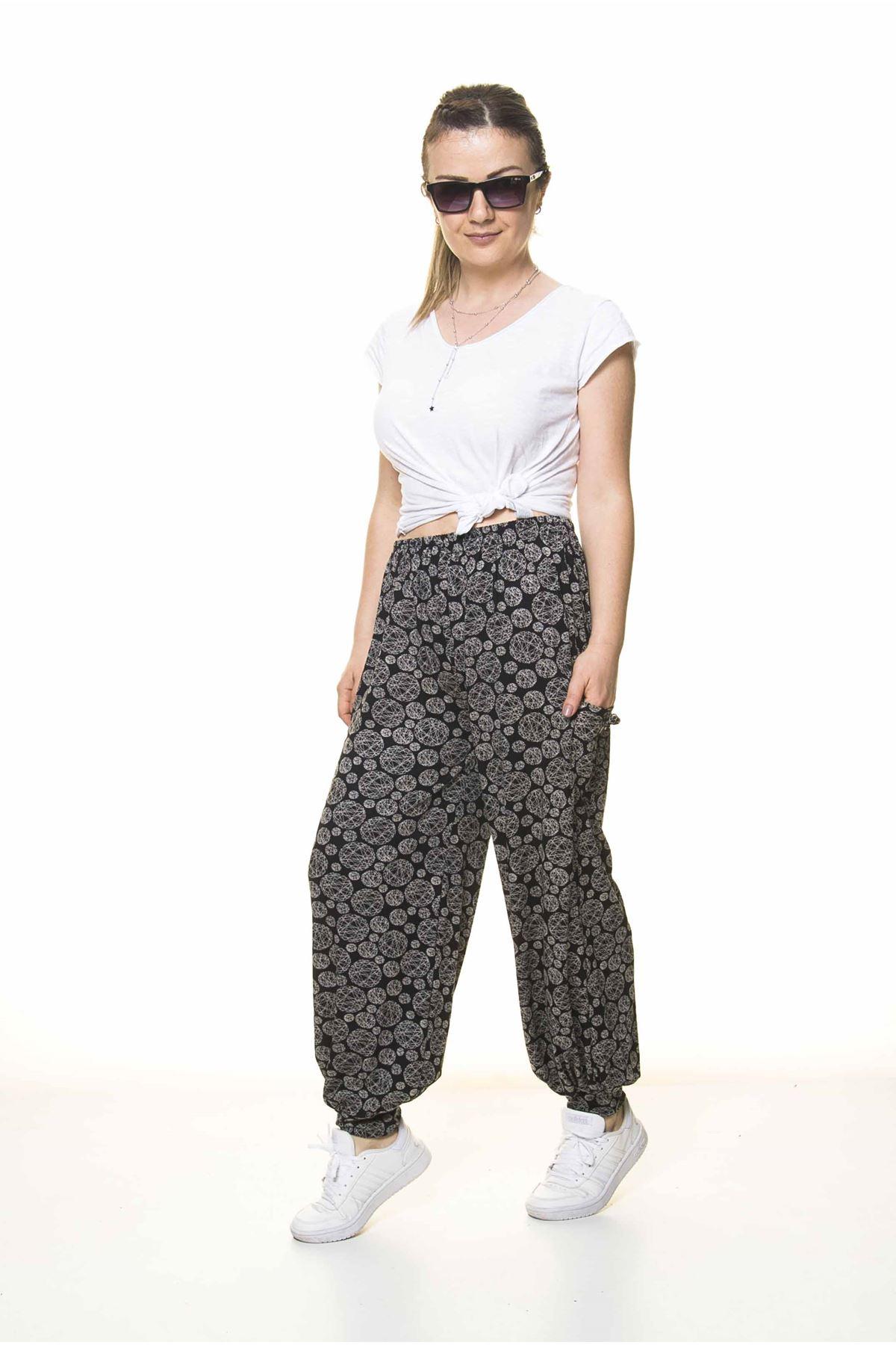 Kadın Beli Lastikli Siyah Desenli Şalvar Pantolon 8C-4004