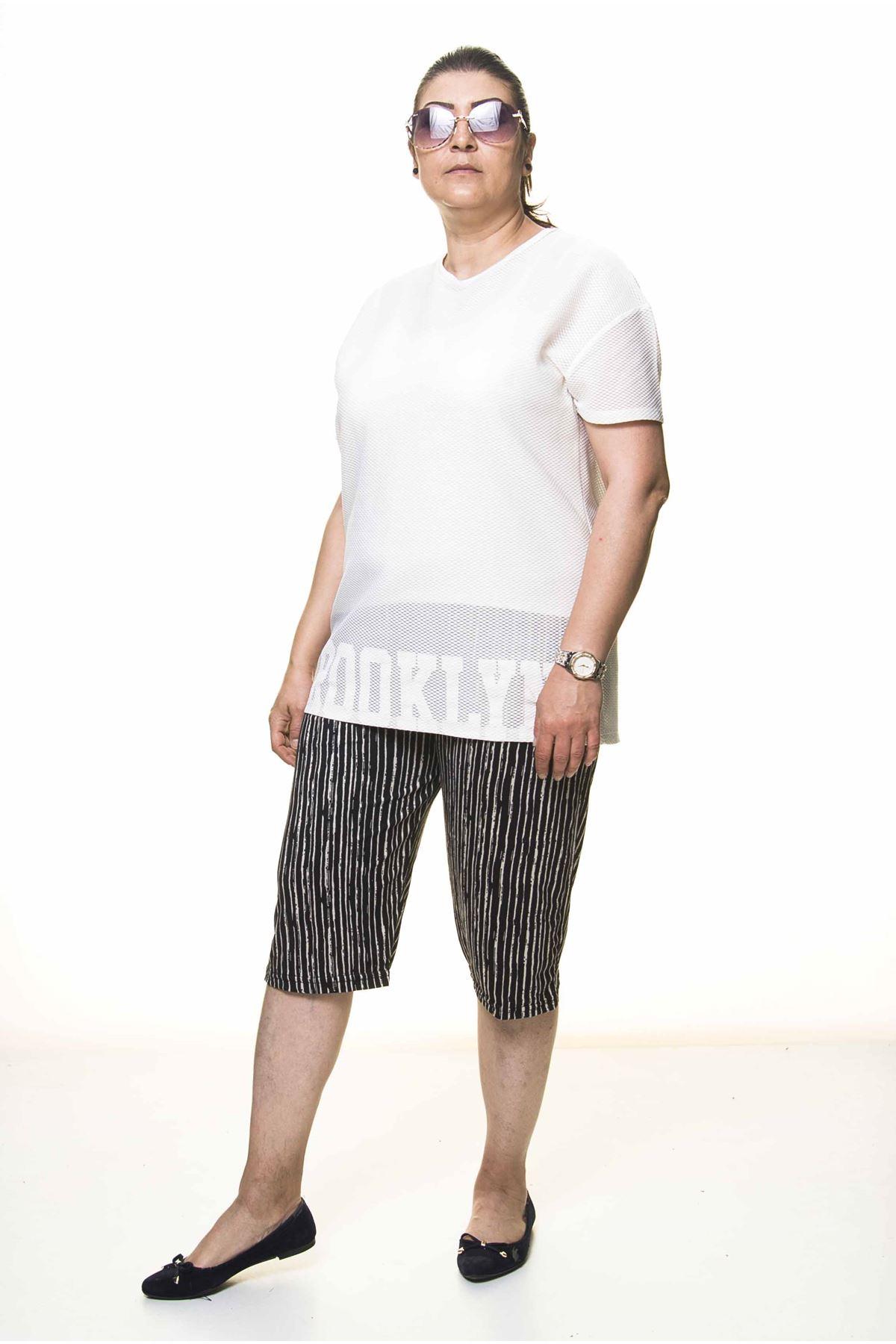 Kadın Büyük Beden Siyah Yazlık Kapri Pantolon 6C-4002