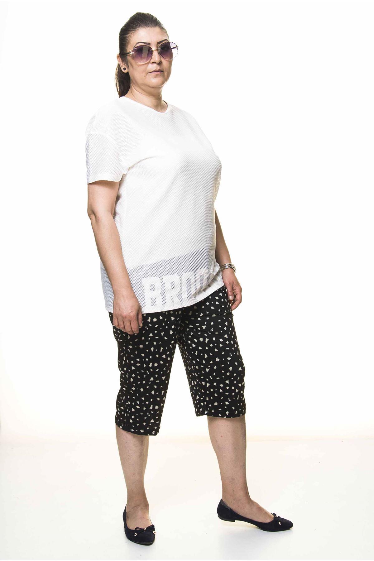 Kadın Büyük Beden Siyah Yazlık Kapri Pantolon 6C-4003