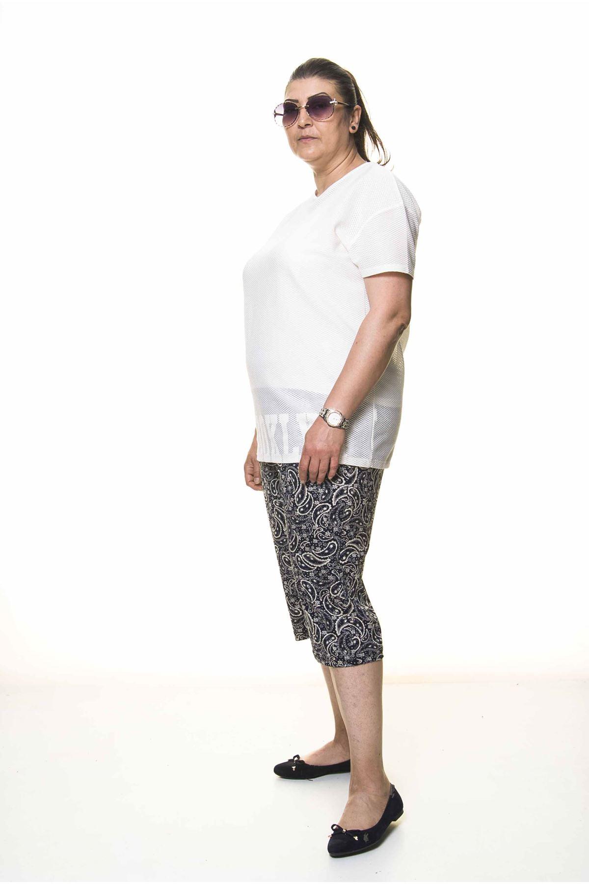 Kadın Büyük Beden Lacivert Yazlık Kapri Pantolon 11D-4000