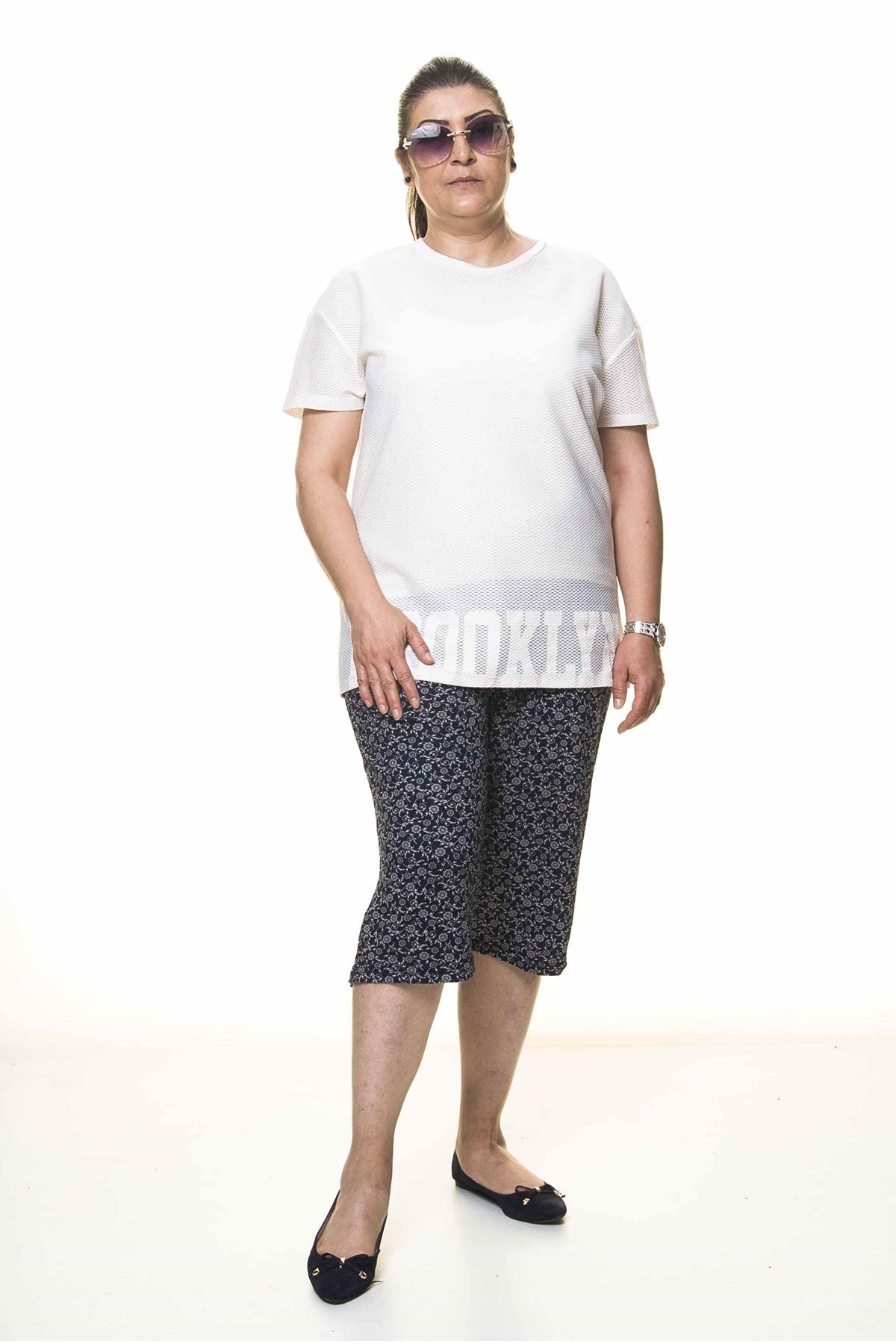 Kadın Büyük Beden Lacivert Yazlık Kapri Pantolon 6C-4001