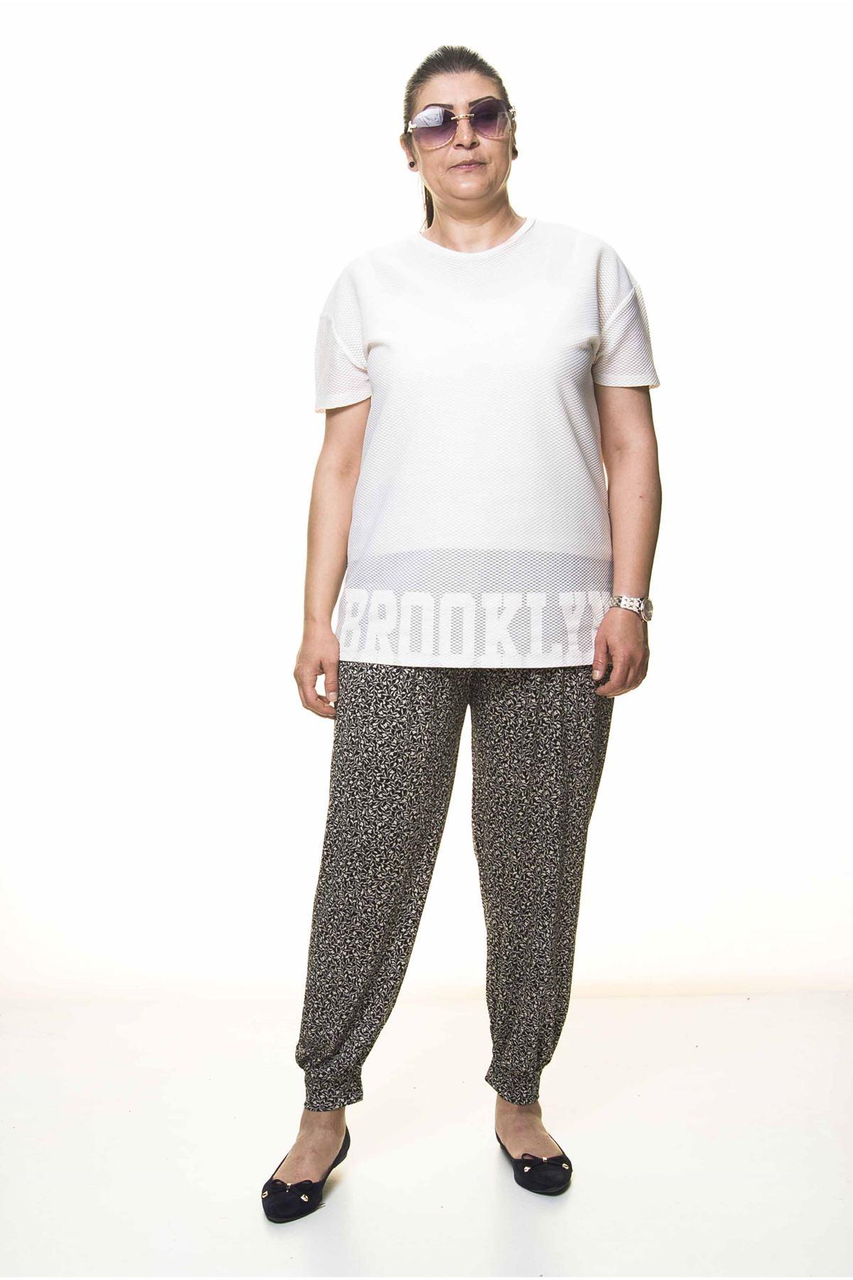Kadın Büyük Beden Desenli Yazlık Şalvar Pantolon 13D-3095