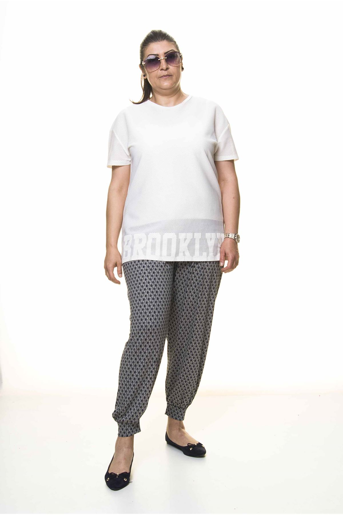 Kadın Büyük Beden Desenli Yazlık Şalvar Pantolon 13C-3097