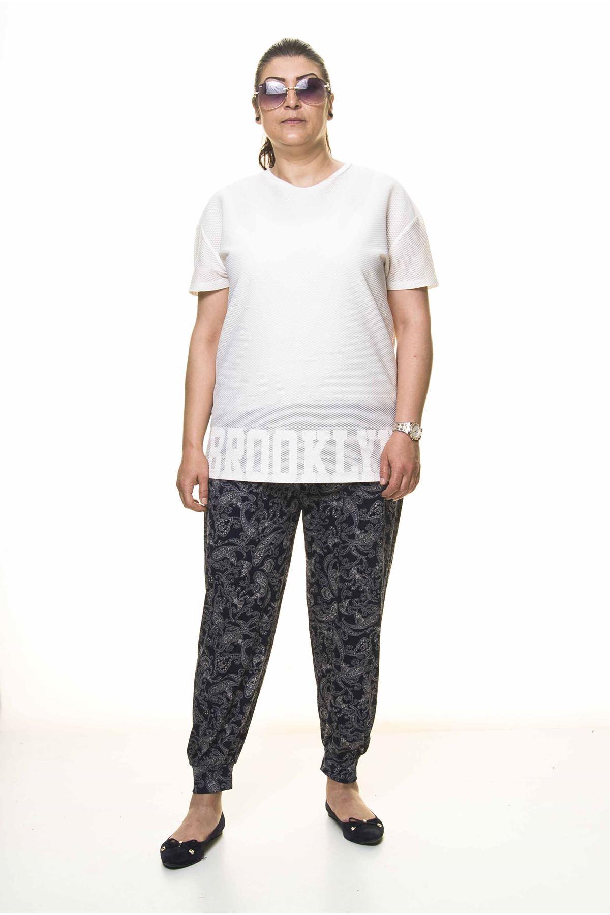 Kadın Büyük Beden Desenli Yazlık Şalvar Pantolon 11D-3098