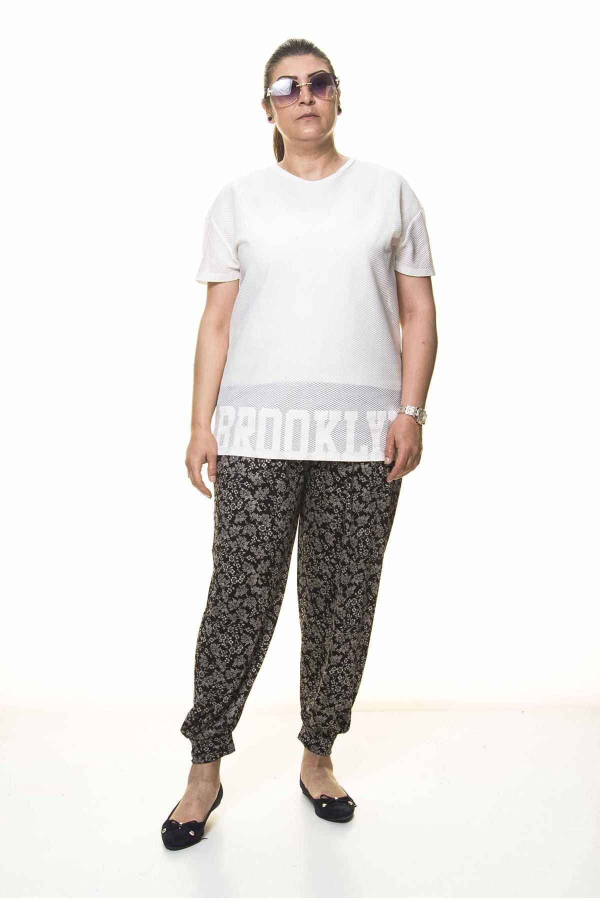 Kadın Büyük Beden Desenli Yazlık Şalvar Pantolon 11D-3099