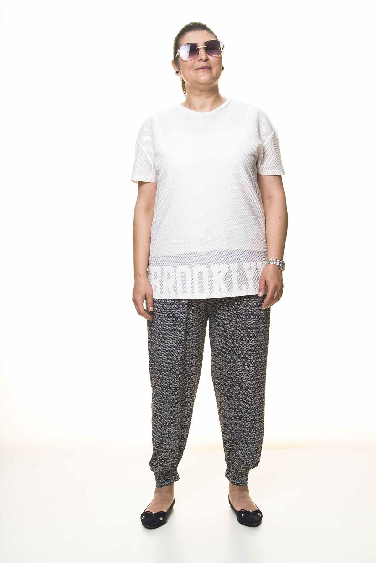 Kadın Büyük Beden Desenli Yazlık Şalvar Pantolon 13D-3093