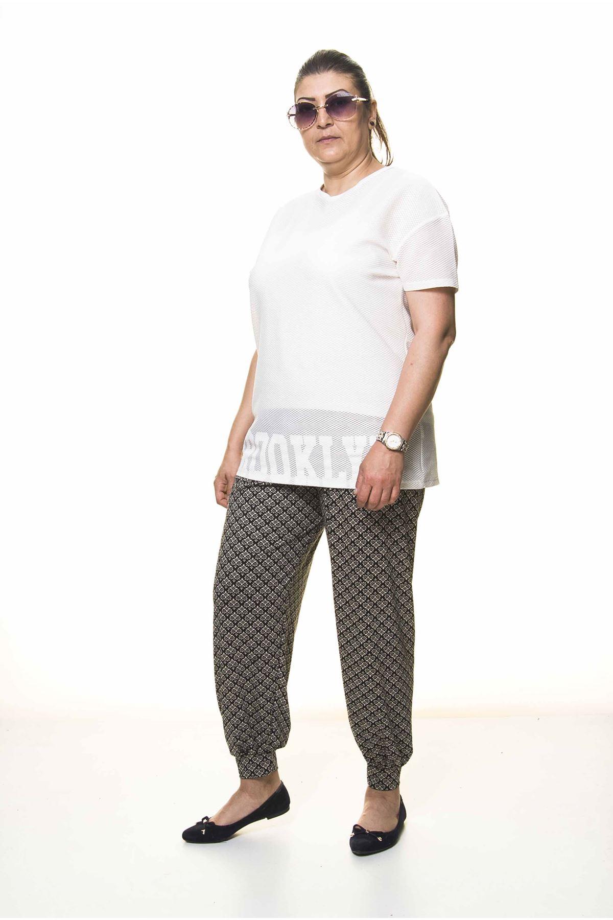 Kadın Büyük Beden Desenli Yazlık Şalvar Pantolon 13D-3094