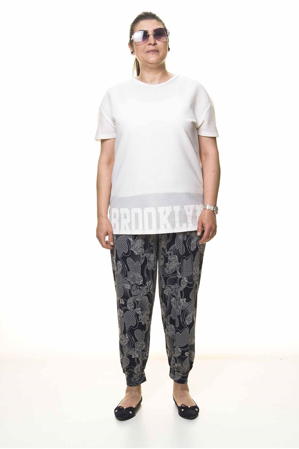 Kadın Büyük Beden Desenli Yazlık Şalvar Pantolon 13D-3092