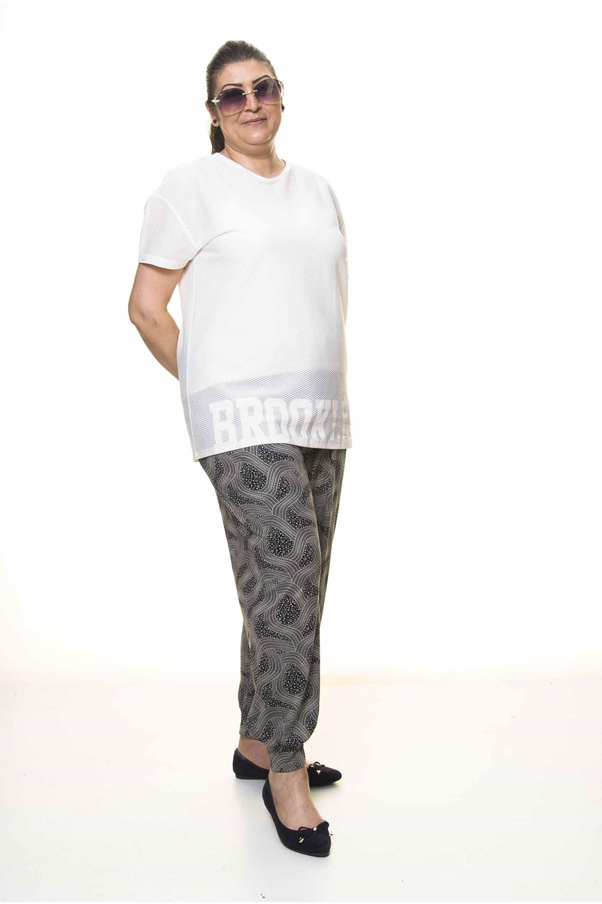 Kadın Büyük Beden Desenli Yazlık Şalvar Pantolon 13C-3090