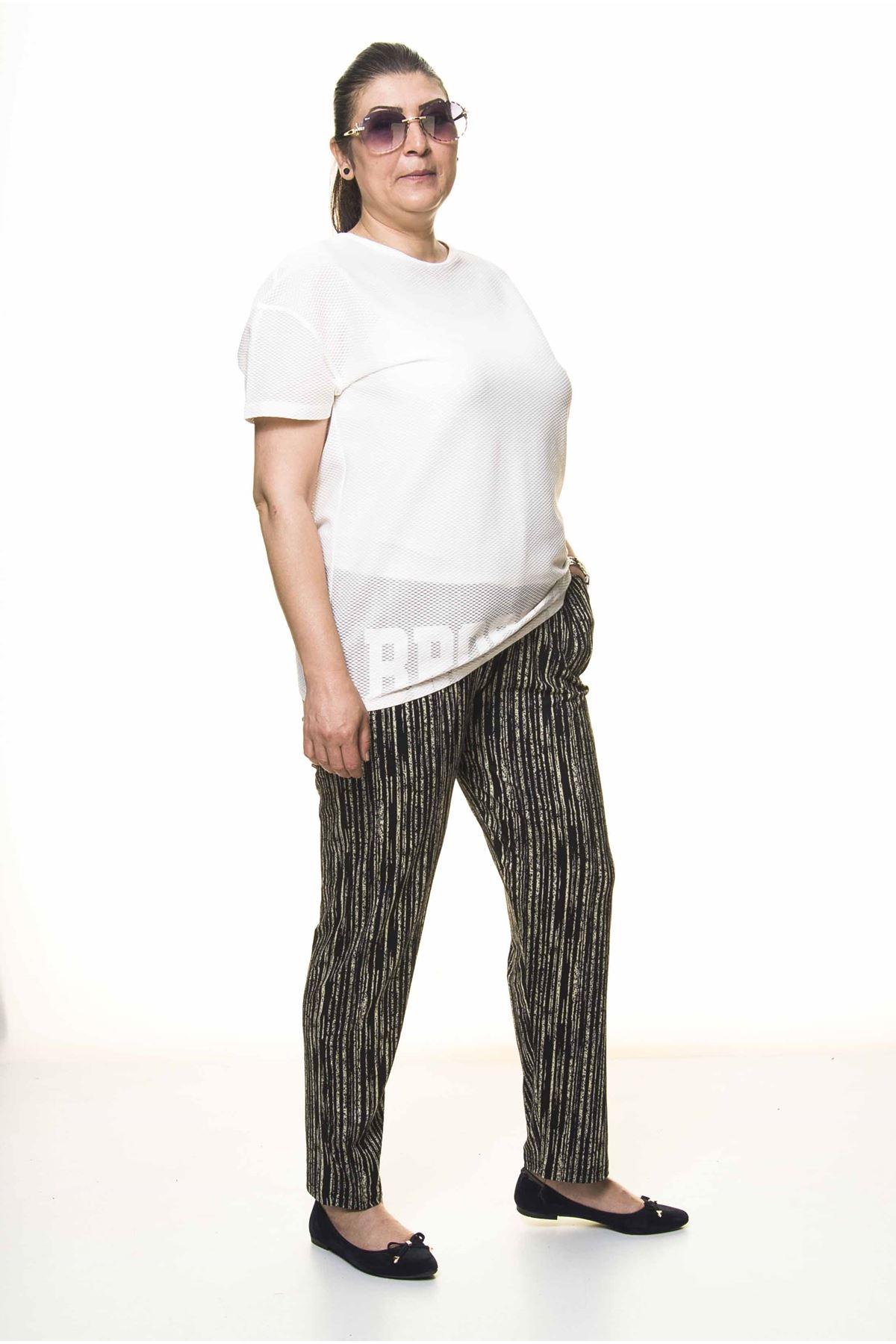 Kadın Büyük Beden Siyah Çizgili Yazlık  Pantolon 13C-3091