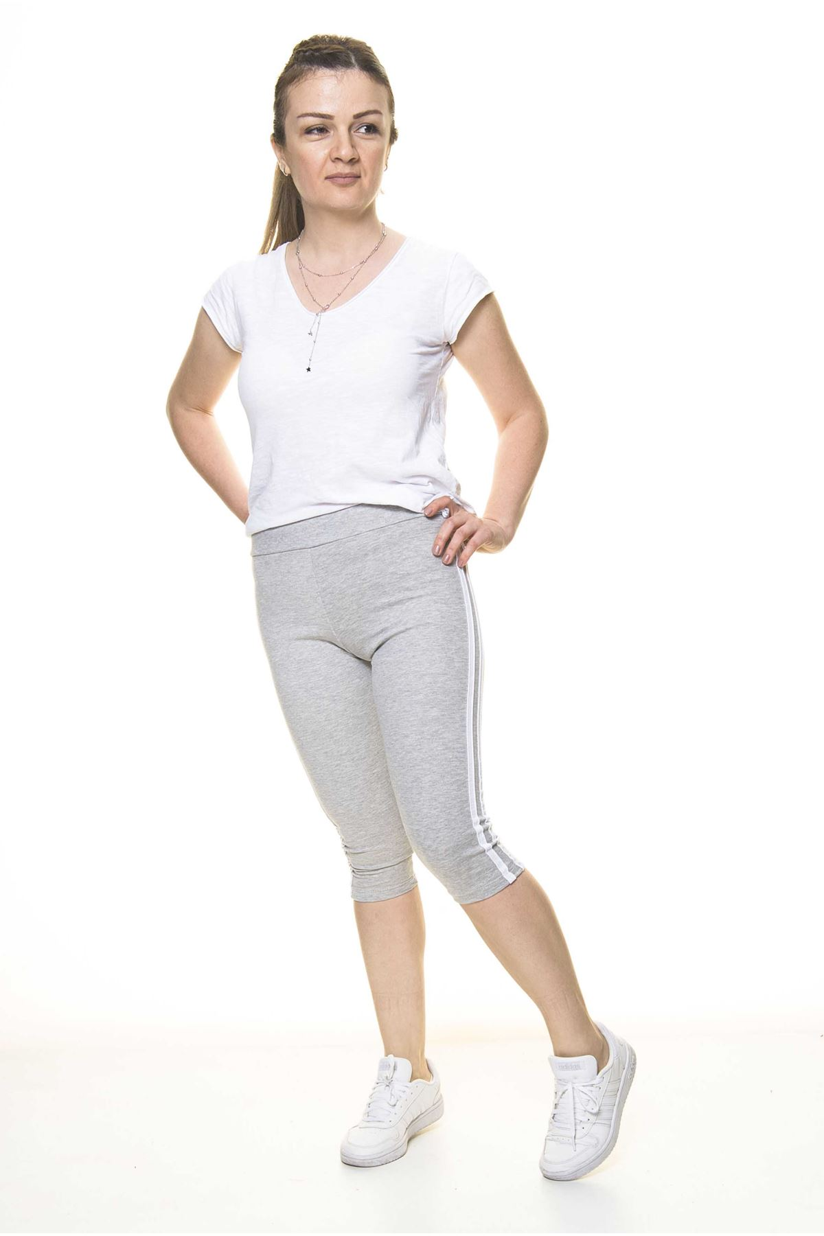 Kadın Spor Çizgili Gri Kapri Tayt 11C-4015