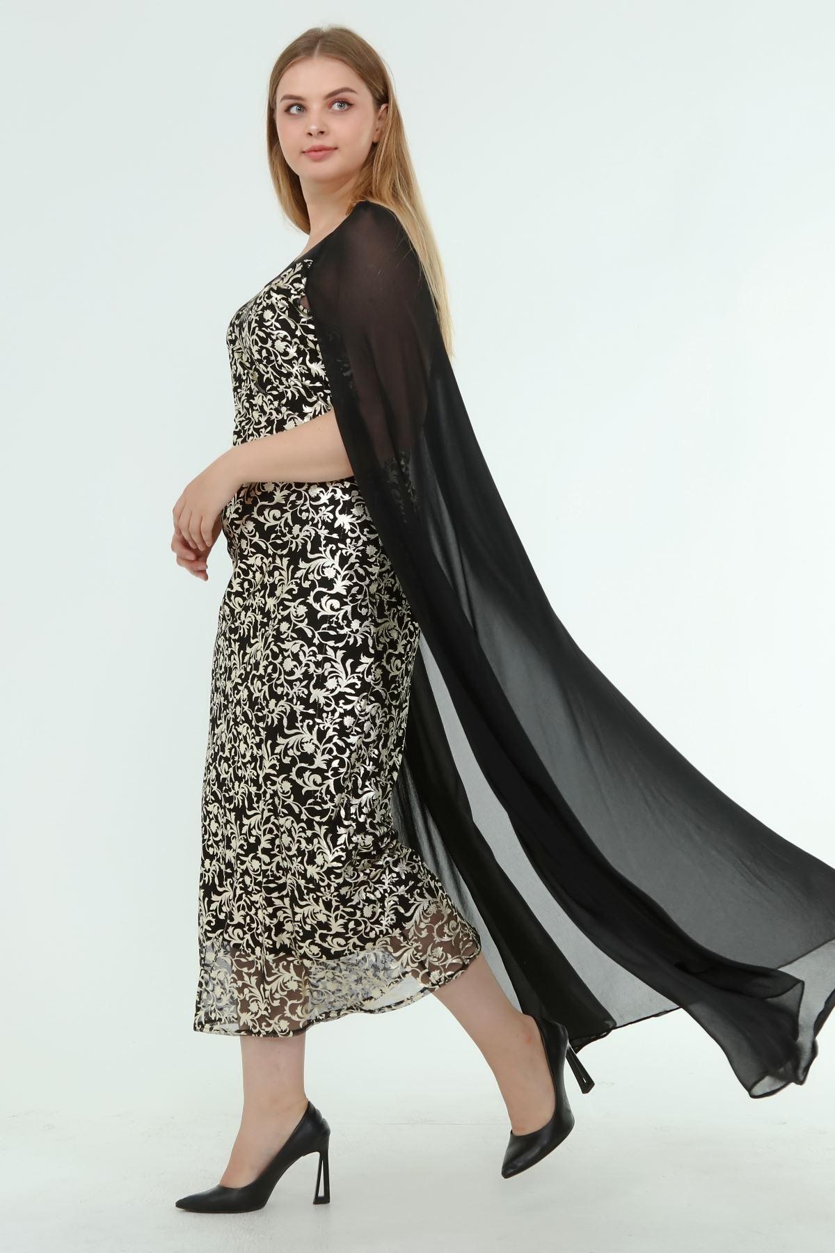 Kadın Büyük Beden Siyah Lame Desenli Pelerinli Gece Elbise  A1-4049