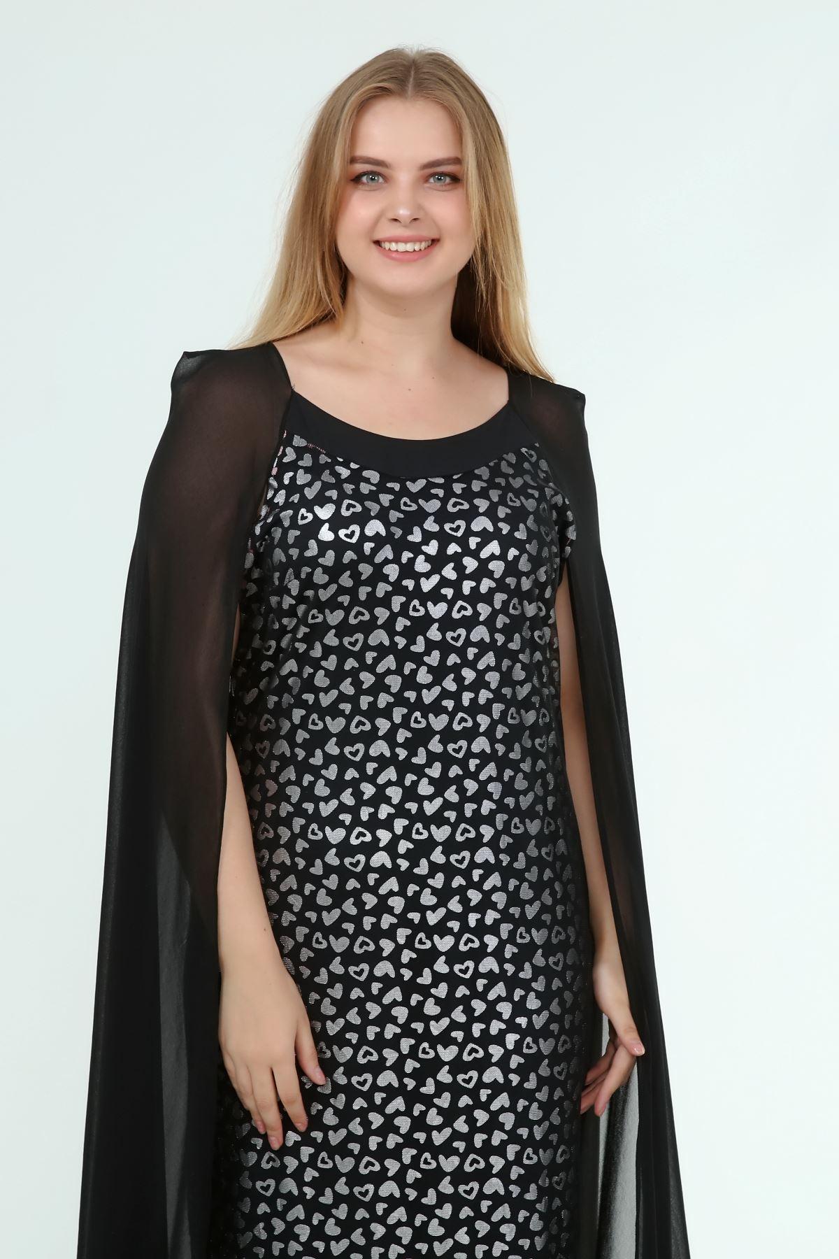 Kadın Büyük Beden Siyah Desenli Pelerinli Gece Elbise  A1-4050