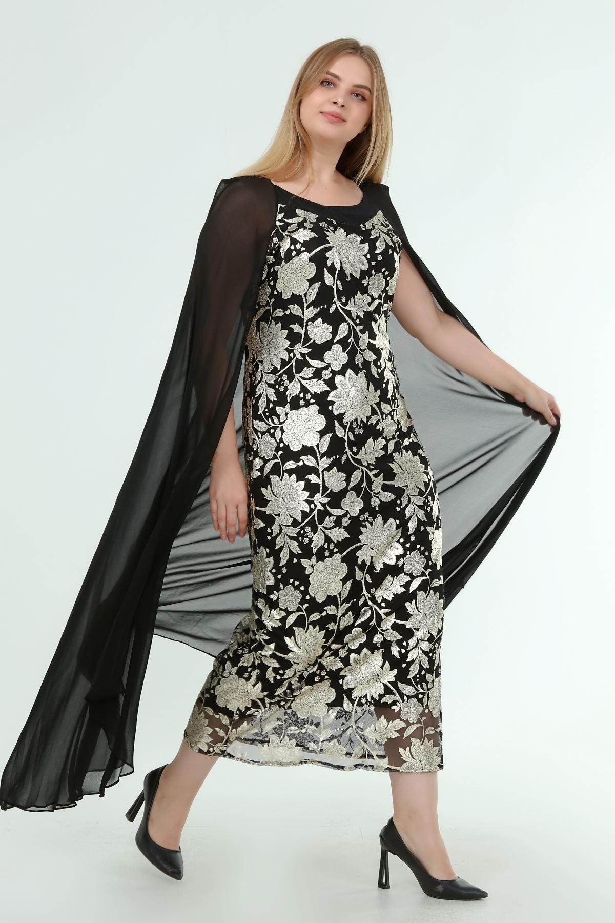 Kadın Büyük Beden Siyah Desenli Pelerinli Gece Elbisesi  A1-4052