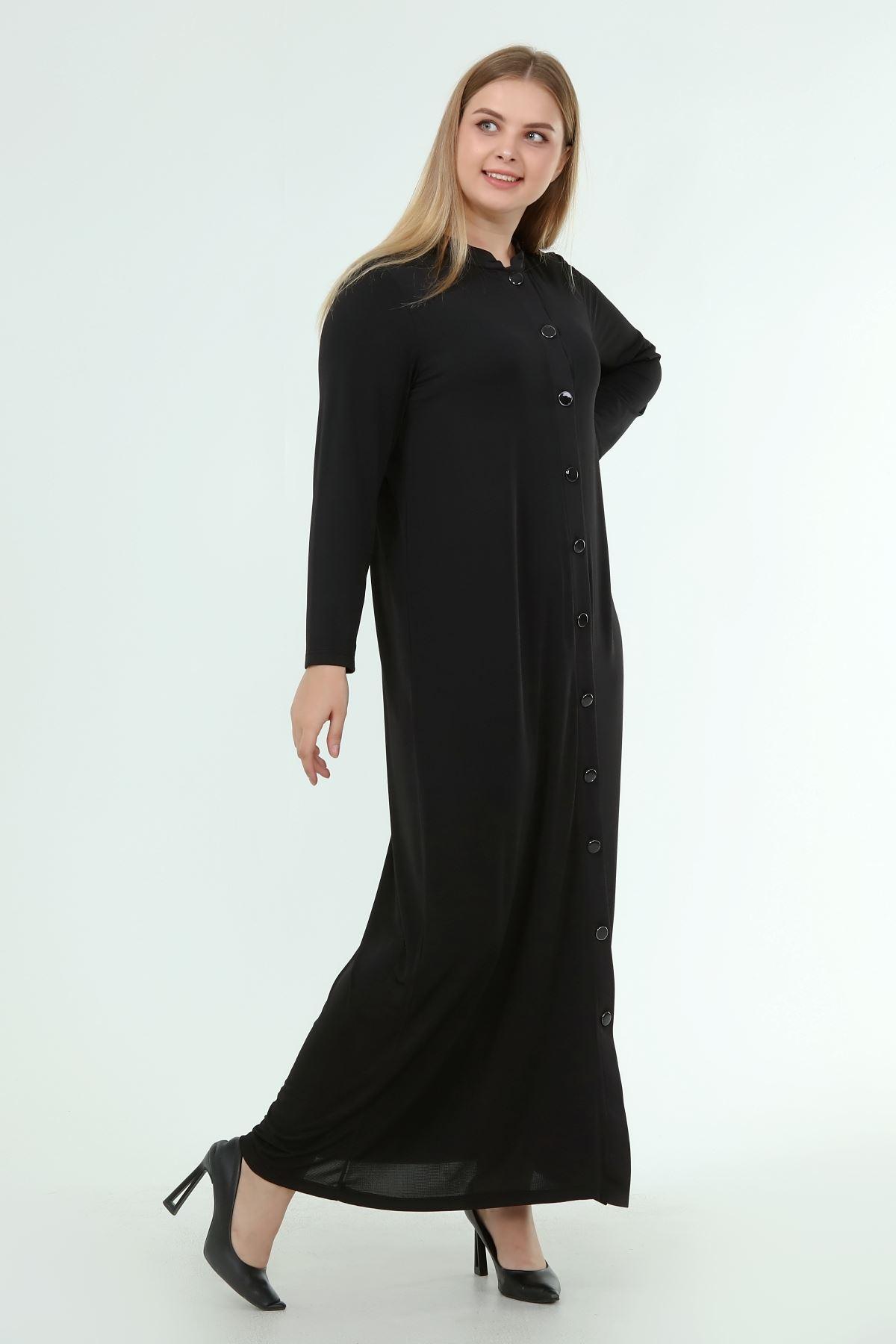 Kadın Siyah Uzun Düğmeli Elbise  A1-4054